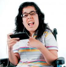 Woman using wheelchair